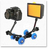 Blue Desktop DSLR Camera Video Photography DV Rail Track Slider Table Dolly Car