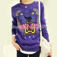2014 Winter Women sweater Printing Animal Hoodies  Liberal school uniforms Thick fleece sweater  tiger embroidered  Purple
