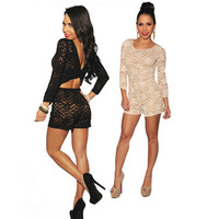 2014 New Fashion Sexy Black/Cream Lace Nude Illusion Knotted Key-Hole Back Romper Jumpsuit Cheap Price Free Drop Shipping