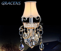HOT! Free Shipping 1 Arm Luxury Gold Crystal Wall Sconce Bedroom with 100% K9 Crystal Drops (A WLZG125-1S) W180*H340mm