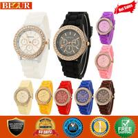 2014 Hot Geneva Watches Rhinestone Watches 10 colors Rhinestone GENEVA Watch Silicone Jelly watch Free Shipping