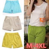 M/L/XL/XXL/XXXL/XXXXL size 2014 women shorts Summer plus size candy elastic waist women cotton short