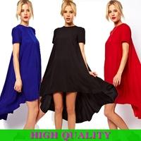 New 2014 Fashion Summer Women's Solid Color Asymmetrical Hem Mid-Calf Length Swing Hem Short Sleeve O-Neck Dress in Stock