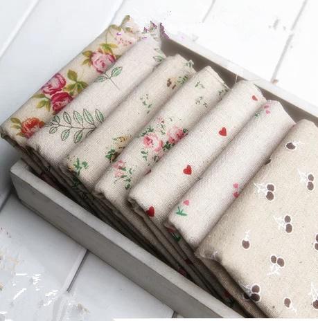 2014 New 7 Pcs 50cm*50cm Diy Handmade Linen Fabric For Patchwork Cotton Woven Rose Of Love Hemp Fluid Pillow Table Cloth(China (Mainland))