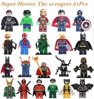 Decool 21pcs Building Bricks Blocks super heroes the avengers Flash Deadpool action mini figures minifigures toys for children