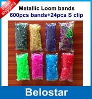 2014 New Style Metallic Rubber Band Refill Metallic Loom Band Bracelet DIY (600 pcs bands + 24 pcs S-clips ) Free Shipping
