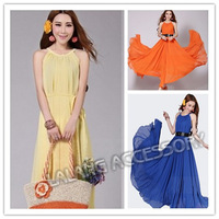 2014 New Women Summer Big Size Slim Beach Vacation Bohemian Dress High Quality Long Chiffon Dresses Ball Gown Dress 654700