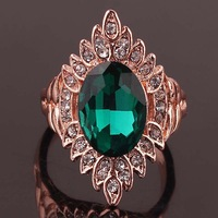 2014 Hot Sale Oval Unique Green Emerald 14K Gold Plated  Austrian Crystal Women Rings Fashion Jewelry Free Shipping Wholesale