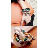 Free Shipping 2014 New Korean Hot Selling Vintage Bohemian Metal Rhinestone Pearls Love Heart 4pcs Set Bracelets For Women