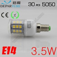6xPCS New arrival SMD 5050  3.5W  E14 led corn bulb lamp, 30 LED Warm white /white led lighting ,free shipping