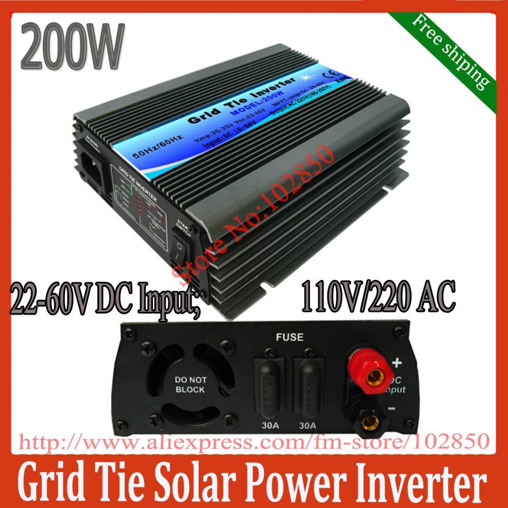 200W mppt solar grid tie inverter,pure sine wave power inverter,22-60V DC input,120/230V AC output,CE,free shipping(China (Mainland))