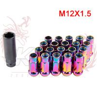 KYLIN STORE -  Muteki SR48 48mm Steel LUG NUTS  neo chrome 12X1.5 1.5 ACORN RIM EXTENDED OPEN END