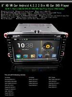 "Newest Android 4.2.2  8""  2 Din HD Car DVD Player For  VW GOLF 5 6 POLO PASSAT CC JETTA TIGUAN VW Series 3G Wifi 1G Ram 8GB"