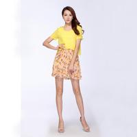 Ruili Women 2014 brand new summer chiffon dress pleated floral  fashion dress False two pieces