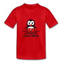 Childrens Custom Unique Cotton Tee Shirt  With Logo A Penguin Ate My Brain