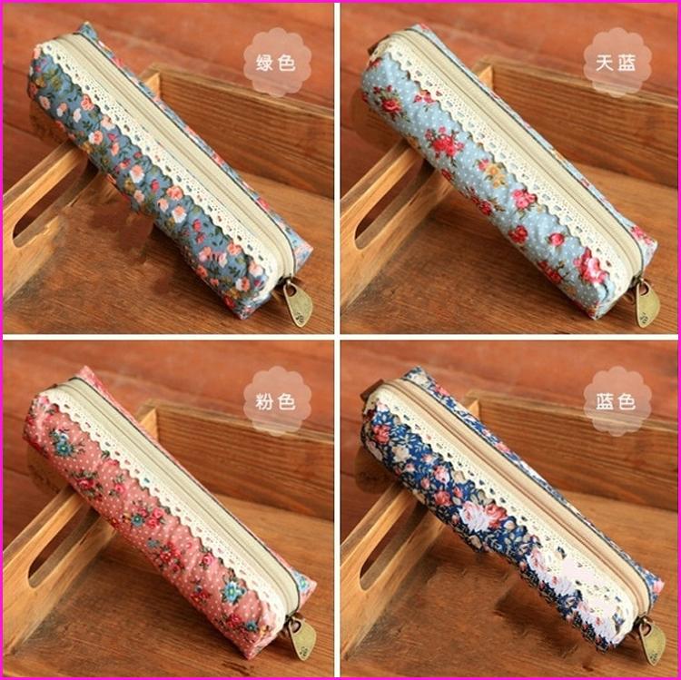 Free Shipping Vintage Floral Retro Canvas Zipper Pen Pencil Bag School Student Pen Case Mini Pen Bag(China (Mainland))