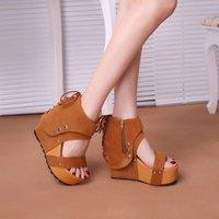 Free Shipping! Summer 2014 platform ultra high heels rivet open toe sandals lacing shoes platform wedges female sandals platform