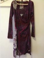free shipping Women's  vintage fashion print Deep V-neck sexy waist slim dress no price label