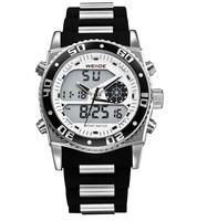 Fashion WEIDE digital led Alarm sports quartz watches men luxury brand relogio masculino rubber stainless steel men wristwatch