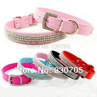 (5 color XS/S/M/L ) Full Rhinestone Bling PU Leather Diamante Pet Dog Cat Collars Buckle Neck Strap Collar pet product 10pcs/Lot