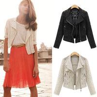 5 Women's Boutique Fashion Lace Hollow Metal Zipper Was Thin Lapel Long Sleeve Jacket 1619