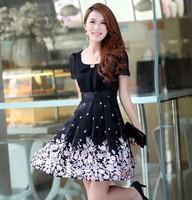 2014 New Fashion Summer And Spring Best Seller Plus Size Women Aged Woman Flower Dress Korean Slim Thin Chiffon Dress LWZ007