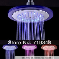 New 2014 Led top spray isothermia three-color temperature change color seven color allochroism big shower head 8 ld8030-c4