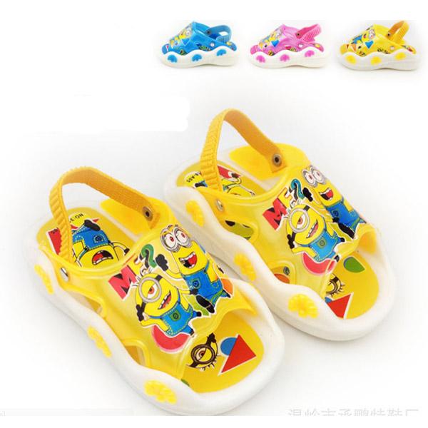 2014 New Summer Minion Toddler Children Beach Shoe Slippers Brand Kids Children's Cheap Sandals Shoes Sneakers For Kids Girl Boy(China (Mainland))