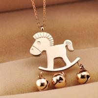 Small Trojan Horse money immediately bell necklace necklace 18K rose gold necklace pony 145 / 050