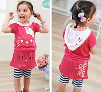 [E-Best]Retail! New 2014 summer Girls'  clothing set Hello Kitty suit Hooded T-shirt + render skirts pants 2pieces suits ST110