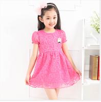 free shipping Children's clothing female child summer short-sleeve dress child yarn dress fashion princess dress child
