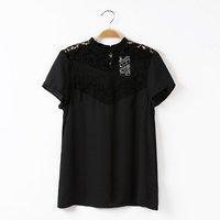 Women fashion chiffon lace neckline combination tops standing collar short sleeves regular blouse 217025