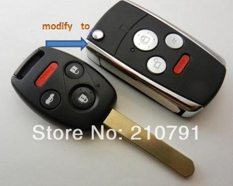 Folding Car Remote Flip Key Shell Case Keyless Fob Cover For HONDA Accord Civic CR-V Pilot 3 4 Buttons(China (Mainland))