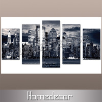 5pcs USA New York City Building at Night polyester canvas picture printing wall livingroom prints on canvas painting Home Decor