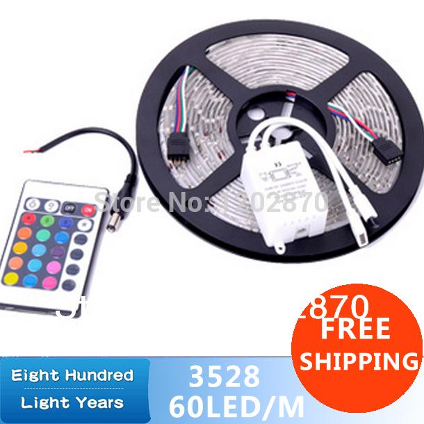 Free Shipping hot 3528 RGB led strip light 5M 300SMD led stripe 24keys SMD IR Remote Controller 5050 led stripe rgb(China (Mainland))