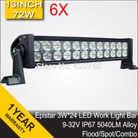 "6 PCS 13"" Inch 72W LED Work Drive Light Bar IP67 12V 24V For JEEP TRUCK TRAILER OFFROAD 4WD ATV 4X4 BOAT SUV FLOOD SPOT COMBO"