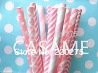 Free Shipping 25pcs Assorted pink straws The Ballerina Paper Straws dot chevron stripes polka dot Drinking Paper Straw Wholesale