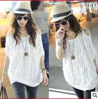 2014 summer women wave white batwing sleeve t shirt batwing top free shipping