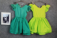 Hu sunshine wholesale new 2014 fashion girls lace solid pink white yellow green T-shirt Children pure tees Clothing