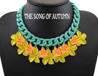 High quality new style painting color flower necklace brought thick statement necklace and pendant jewelry for women