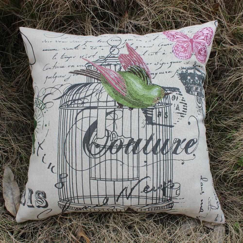 Throw Pillow Vs Cushion : VEZO HOME embroidery green bird cotton linen sofa cushions cover decorative throw pillows cover ...