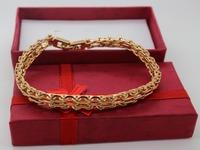 "2014  Pulseiras Pulseiras Femininas Thick 18k Yellow Filled Gf Solid Men's Bracelet Cuff Chain 8"" Heavy Free Shipping"