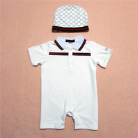 Retail Brand Girl's  Romper+Haat/Children's Short sleeve Jumpsuits+Cap/Cute Baby Kids Clothes 2In Sets+Free Shipping