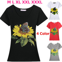 Beading Sunflower and Butterfly top quality summer t shirt women short sleeve cotton t-shirt 4 colors free shipping 2817