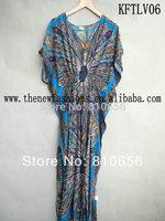 2014 New Designer PAISLEY  PRINT Plus Size Cotton KAFTAN MAXI LONG DRESS