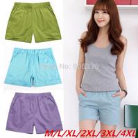 M-4XL size free shipping 2014 Summer women plus size cheap cotton loose casual shorts