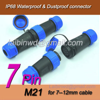 7 PINS M21 Waterproof Aviation cable gland Connector+In-line cable connector,Plug and socket,IP68 for 7-12mm cable