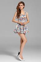 2014 new Authentic women summer new stretch Slim vest brand fahsion dress pleated S-XL