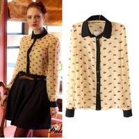 Women's 2014 spring vintage turn-down collar little swan animal graphic patterns long-sleeve chiffon shirt shirt