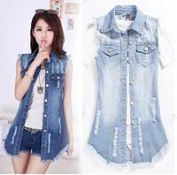 summer slim sleeveless chiffon patchwork denim vest outerwear female